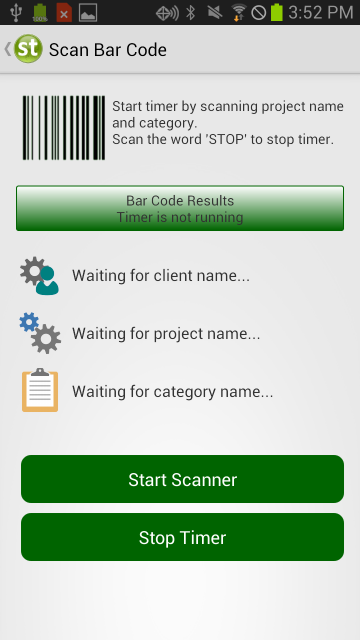 Start Timer with Barcode Label