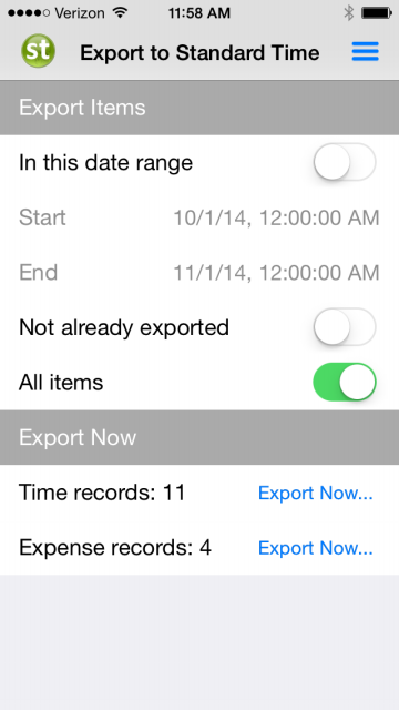 Export Time and Expenses