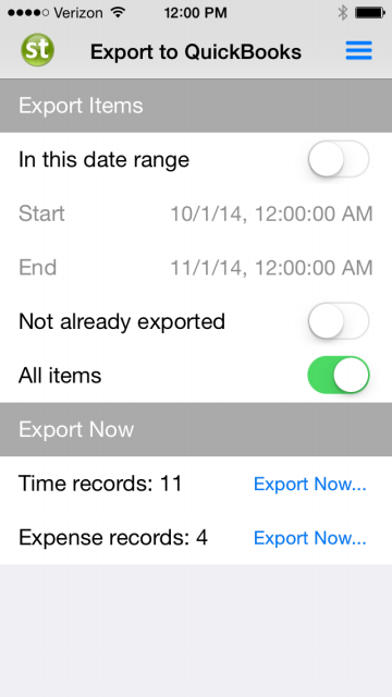 Export Time and Expenses to QB